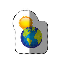 Color earth planet with sun icon vector
