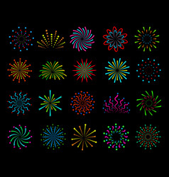 color fireworks festive christmas salute happy vector image