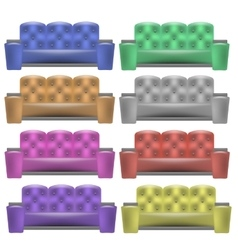 Colorful Leather Comfortable Soft Sofa vector