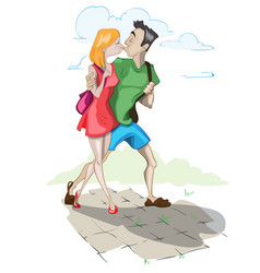 couple kissing cartoon characters vector image