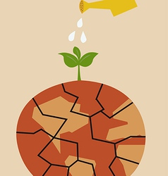 Cracked heated earth and green sprout which grows vector