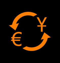 currency exchange sign dollar and euro orange vector image