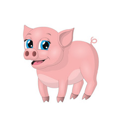 cute hand drawn little pink pig vector image