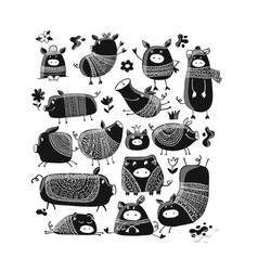 cute pigs collection for your design vector image