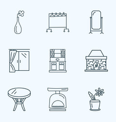 decor icons line style set with clothing rock vector image