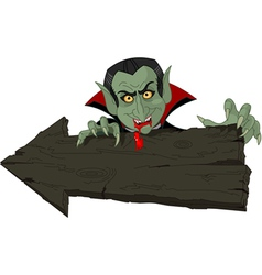 Dracula over Halloween arrow vector image