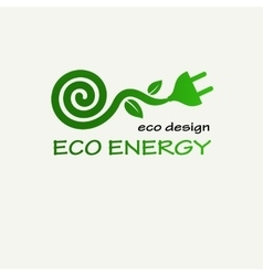 Eco energy symbolic sprout plant spiral and plug vector