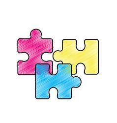 edge color parts puzzle mental game vector image