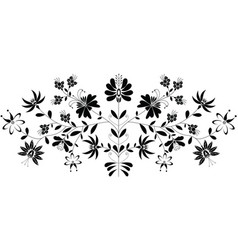 European folk floral pattern in black on white vector image