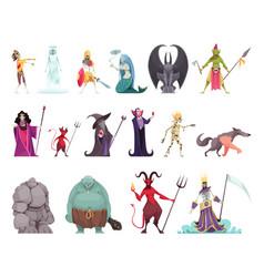 Evil characters fantasy set vector