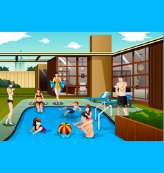 family and friends spending time in the backyard vector image