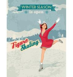 Figure skater girl vintage poster vector image