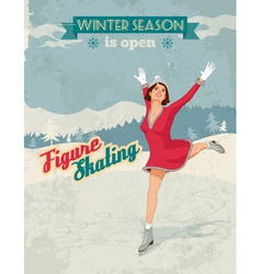Figure skater girl vintage poster vector