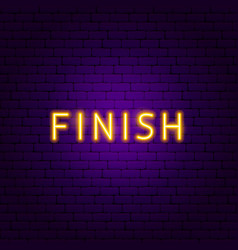 finish neon text vector image