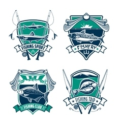 Fishing sport club heraldic badge set design vector image