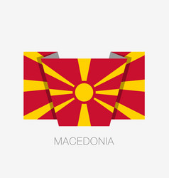 Flag of macedonia flat icon waving flag with vector
