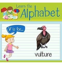 Flashcard letter V is for vulture vector image