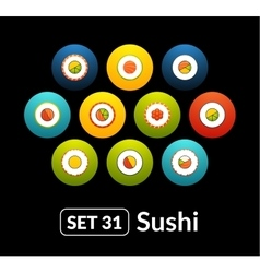 Flat icons set 31 - sushi collection vector