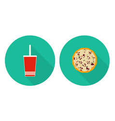 Flat set flat cup of cola pizza vector