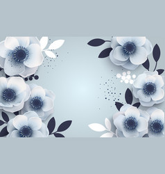 floral background with white blue anemones vector image