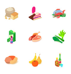 Foodstuff icons set isometric style vector