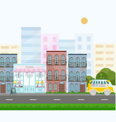 French style bakery street view in a city vector