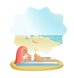 Girl with mobile phones on the sea beach vector