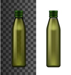 Green glass bottle olive oil realistic 3d mockup vector