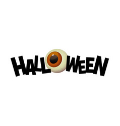 halloween black text banner with cartoon eye vector image