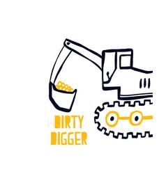 hand drawing digger vector image