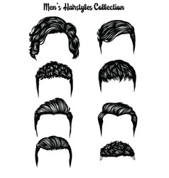 handdrawn mens hairstyles collection vector image