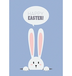 Happy Easter with white rabbit vector