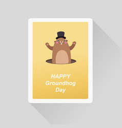Happy groundhog day greeting card minimalist flat vector