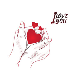 I love you concept design with hand holding red vector