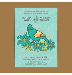 invitation card with bird vector image