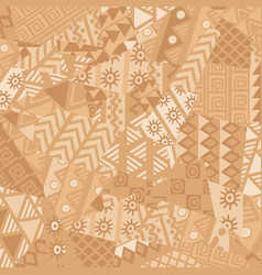 Irregular patchwork pattern with african motifs vector