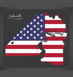 jacksonville map with american national flag vector image
