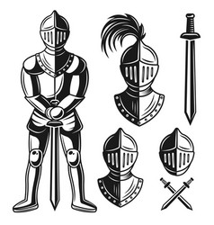 Knights armour objects and design elements vector