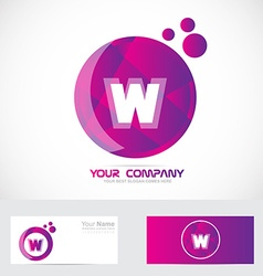 Letter W pink purple logo vector image