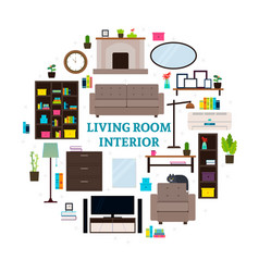 Living room interior icons round concept vector