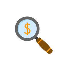 magnifying glass with dollar sing vector image