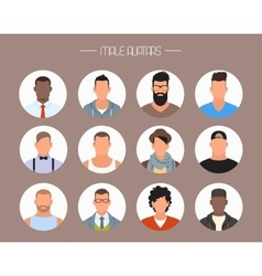 Male avatar icons set people characters vector