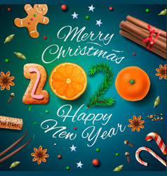 merry christmas happy new year 2020 background vector image
