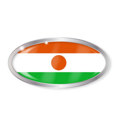 Niger flag oval button vector