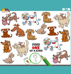 one a kind game for children with cartoon dogs vector image