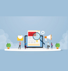 Online digital marketing strategy concept with vector