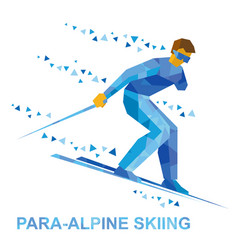 Para-alpine skiing sportsman with disabilities vector