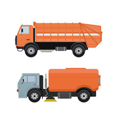 Road cleaning machine vehicle truck sweeper vector
