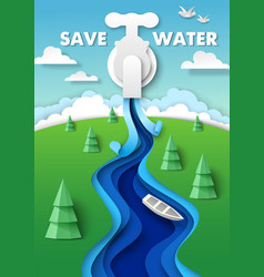 save water poster design template paper cut water vector image