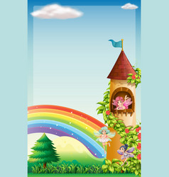 scene with fairies flying in garden vector image